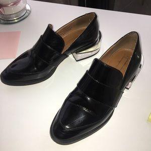 BCBG black patent leather laceless loafers